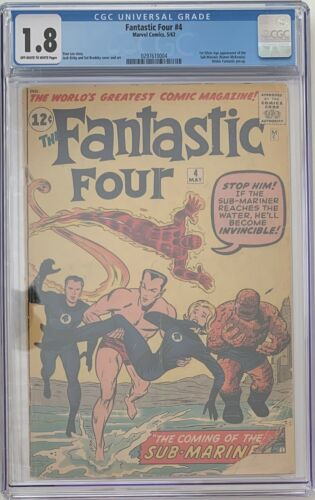 Fantastic Four 4 Series 1 CGC 18 1st SA Appearance SubMariner 1962