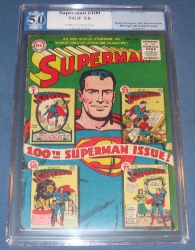 Superman 100 Sept 1955 PGX Slabbed Like CGC  Key DC Issue