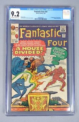 Vintage 1965 Marvel Comics Fantastic Four 34 CGC Graded 92 Silver Age Comic