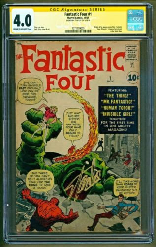 Fantastic Four 1 1961 Marvel 1st appearance of Team SIGNED Stan Lee CGC 40