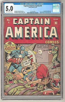 Captain America Comics 4 CGC 50 TOW Early Stan Lee Work