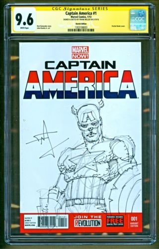 Captain America 1 2013 Marvel Comics Signed Sketch Frank Miller SS CGC 96