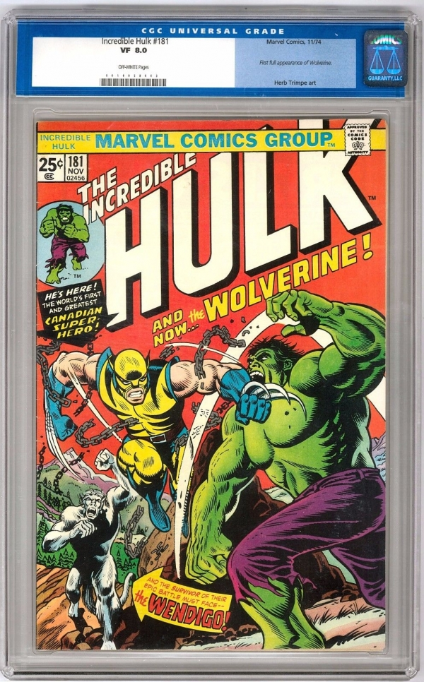 Incredible Hulk 181 CGC 80 OW 1st appearance of Wolverine XMen