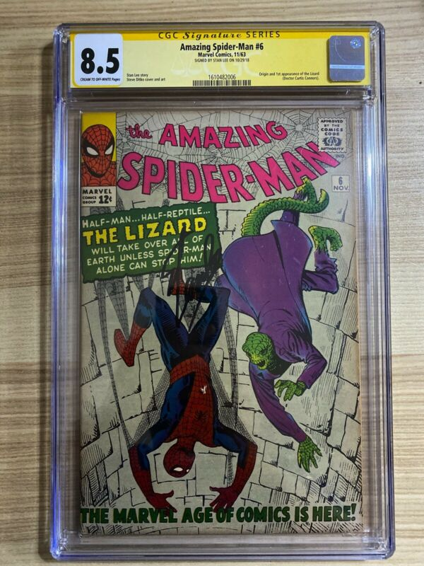 Amazing SpiderMan 6 Marvel 1st appearance of Lizard Signed Stan Lee CGC 85
