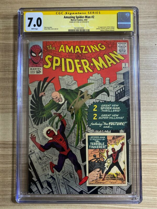 Amazing SpiderMan 2 Marvel 1st appearance of Vulture Signed Stan Lee CGC 70