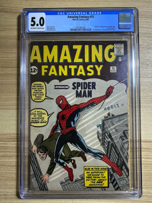Amazing Fantasy 15 1962 Marvel 1st appearance of SpiderMan CGC 50 Silver Age