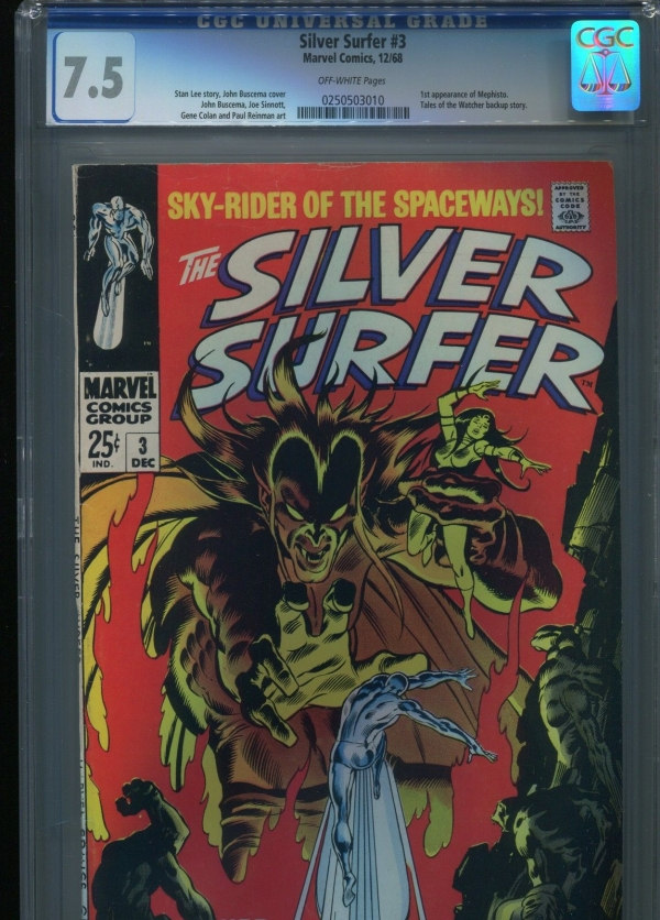Silver Surfer 3  1st Mephisto   CGC 75  OWP
