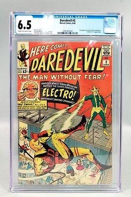 Vintage 1964 Marvel Daredevil 2 Comic Book CGC Graded 65 incl Fantastic Four