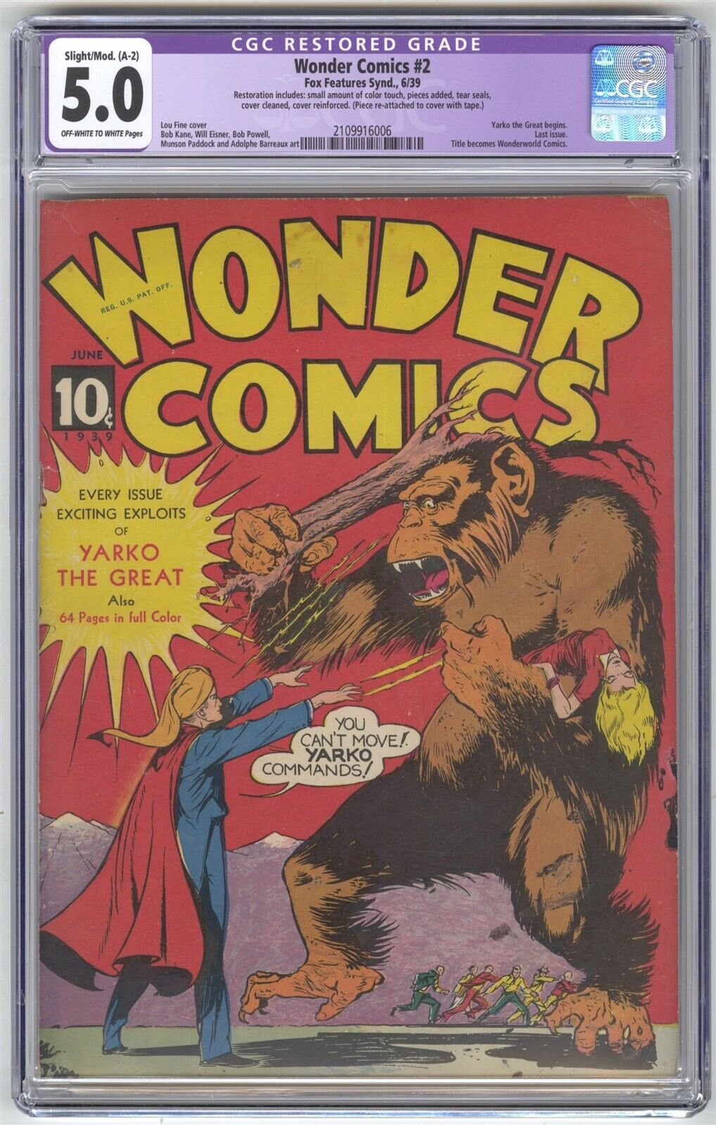 Wonder Comics 2 CGC 50 VINTAGE Fox Features Last Issue Becomes Wonderworld