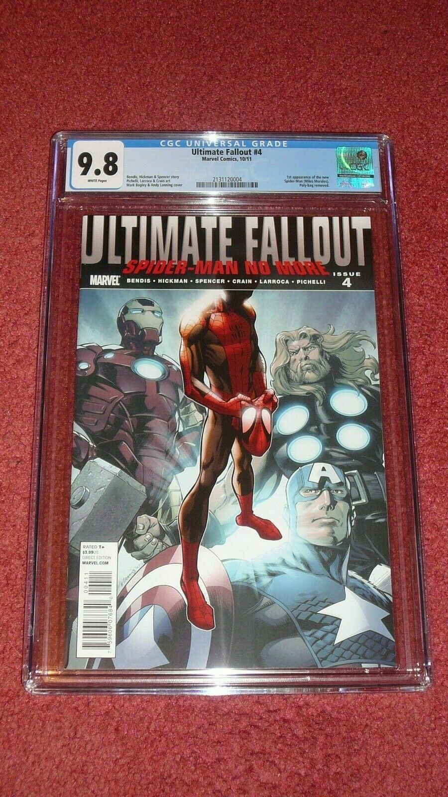 ULTIMATE FALLOUT 4 1st Miles Morales  CGC 98 White Pages Marvel 2011