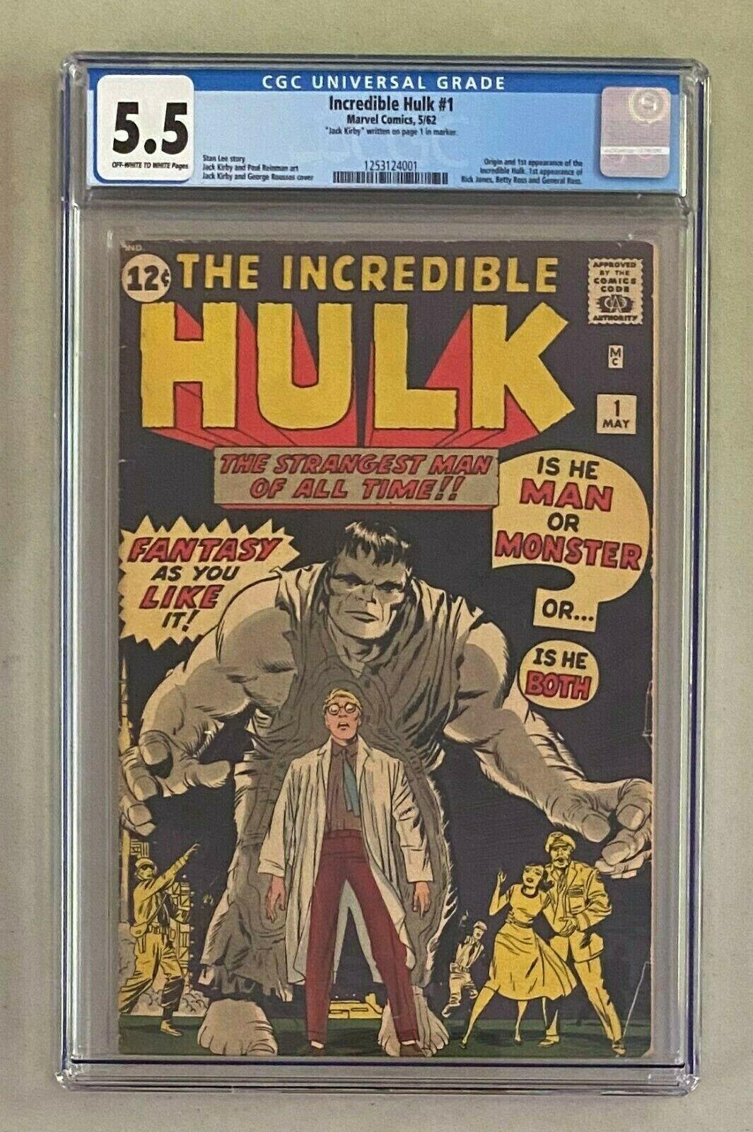 INCREDIBLE HULK 1 Marvel Comics 1962 CGC 55 Origin  1st Appearance