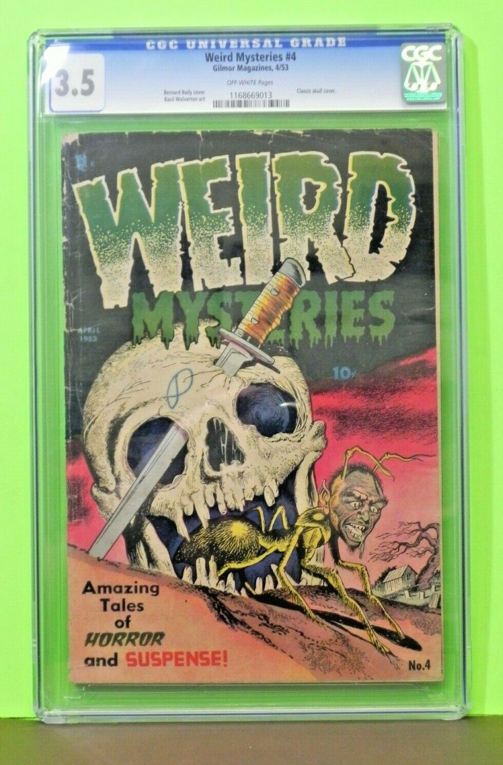 1953 Golden Age Weird Mysteries 4 CGC Graded 35 Skull Cover Rare Key Hot