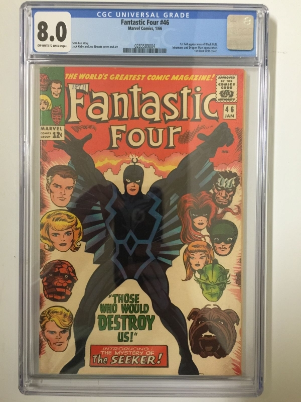 CGC 80 FANTASTIC FOUR 46  1ST BLACK BOLT  1ST BLACK BOLT COVER  KEY