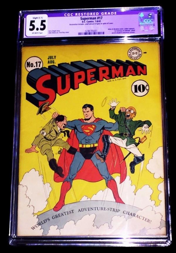 SUPERMAN 1942 DC DC COMICS 17 ORIGINAL AUTHENTIC JULYAUG COMIC BOOK CGC 55