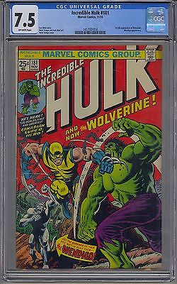 INCREDIBLE HULK 181 CGC 75 OFFWHITE PAGES 1ST WOLVERINE