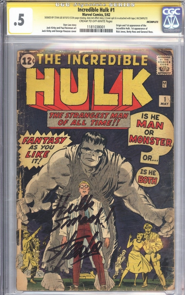 Incredible Hulk 1 CGC 05 SS Signed by Stan Lee Unrestored 1st App of Hulk 1962