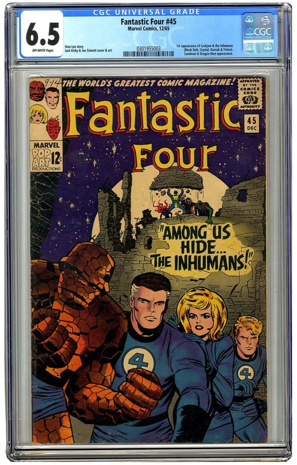 Fantastic Four 45 Vol 1 CGC 65 Nice Higher Grade Unrestored 1st App Inhumans