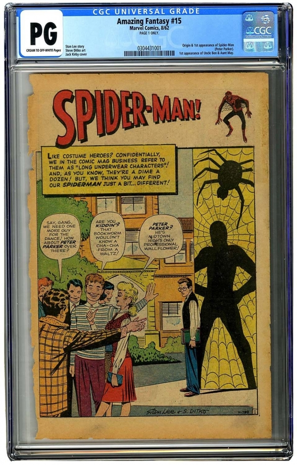 Amazing Fantasy 15 CGC Page 1 Only  1st App of SpiderMan 1962 Original
