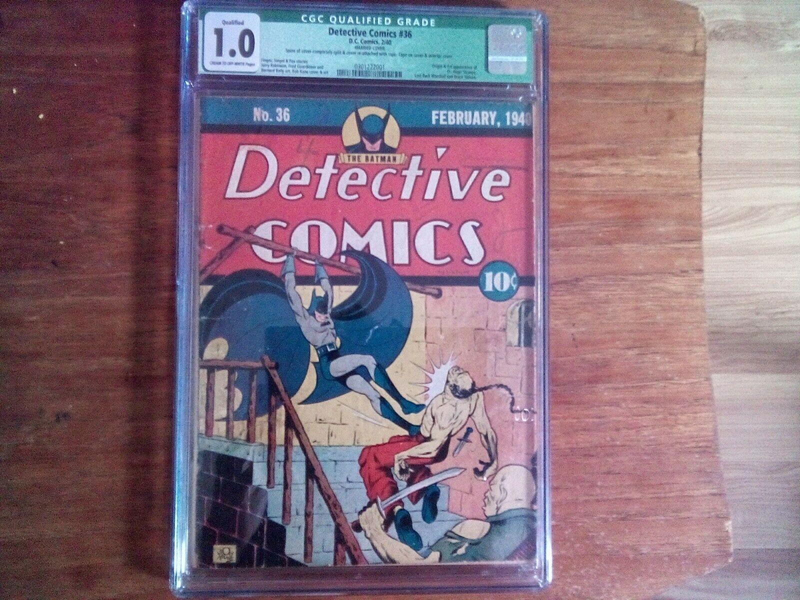 DETECTIVE COMICS 36 CGC 50 VGFN OWW DC 1940 1ST HUGO STRANGE GOLDEN AGE BATMAN