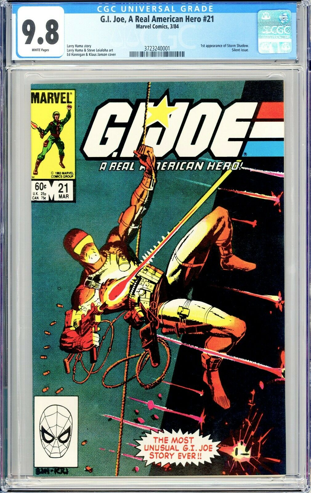 GI Joe 21  CGC 98 White Pages  First Storm Shadow  Silent Issue