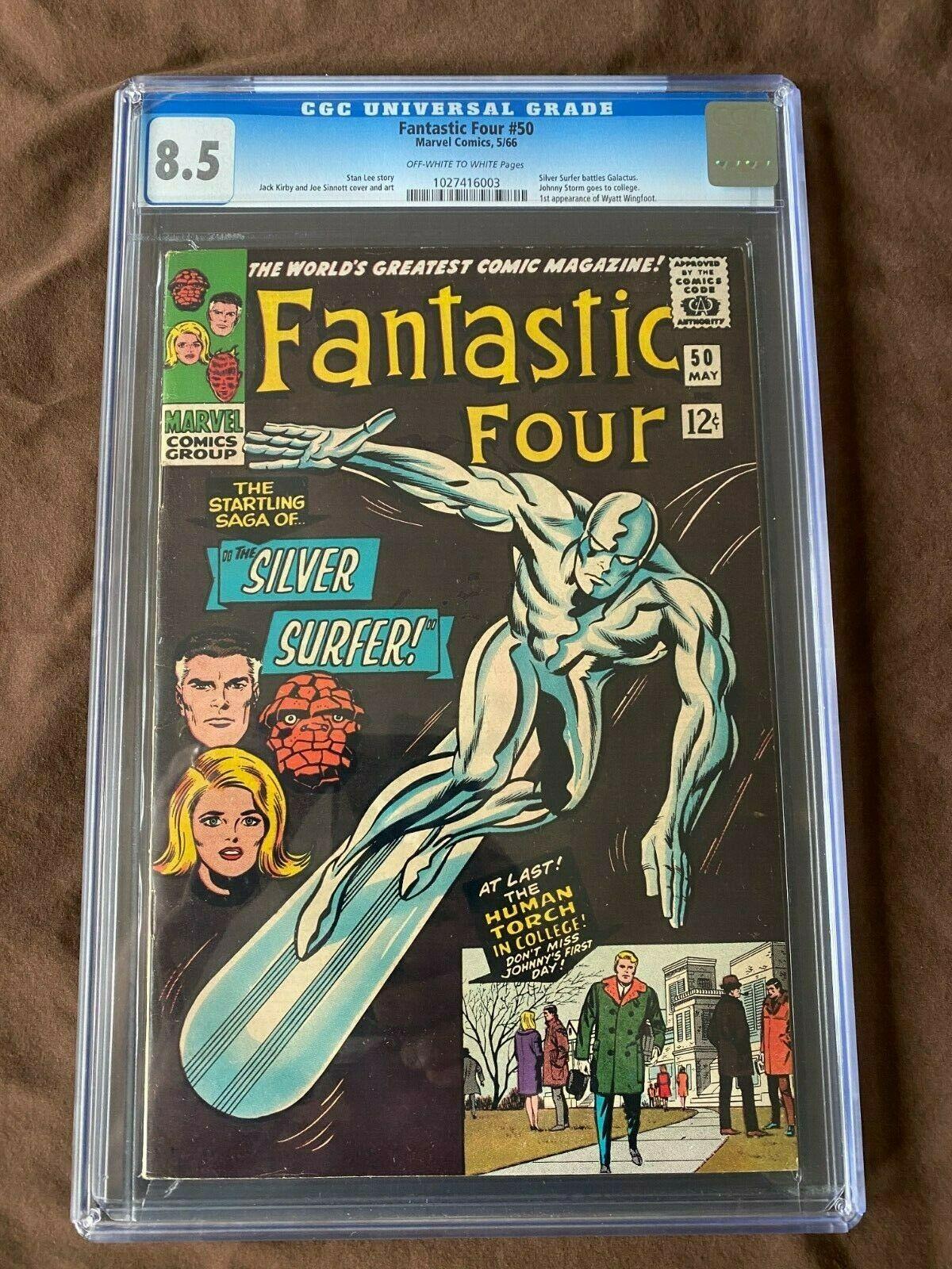 Fantastic Four 50 CGC 85 Silver Surfer Battles Galactus Silver AgeKey Book