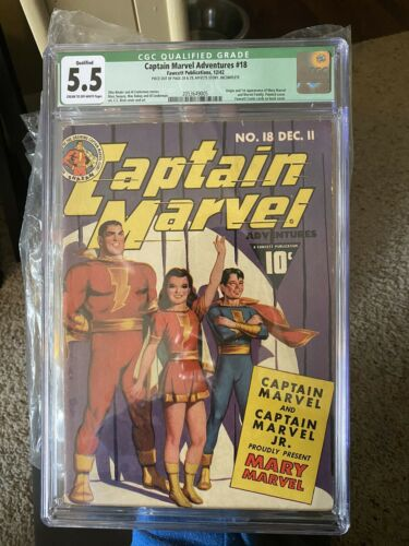 Captain Marvel Adventures 18 Cgc 55 First Mary Marvel 1942