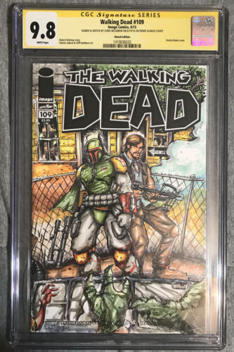 Walking Dead  109 CGC 98 Sketch Cover Chris Mcjunkin Yoda Boba Fett Star Wars