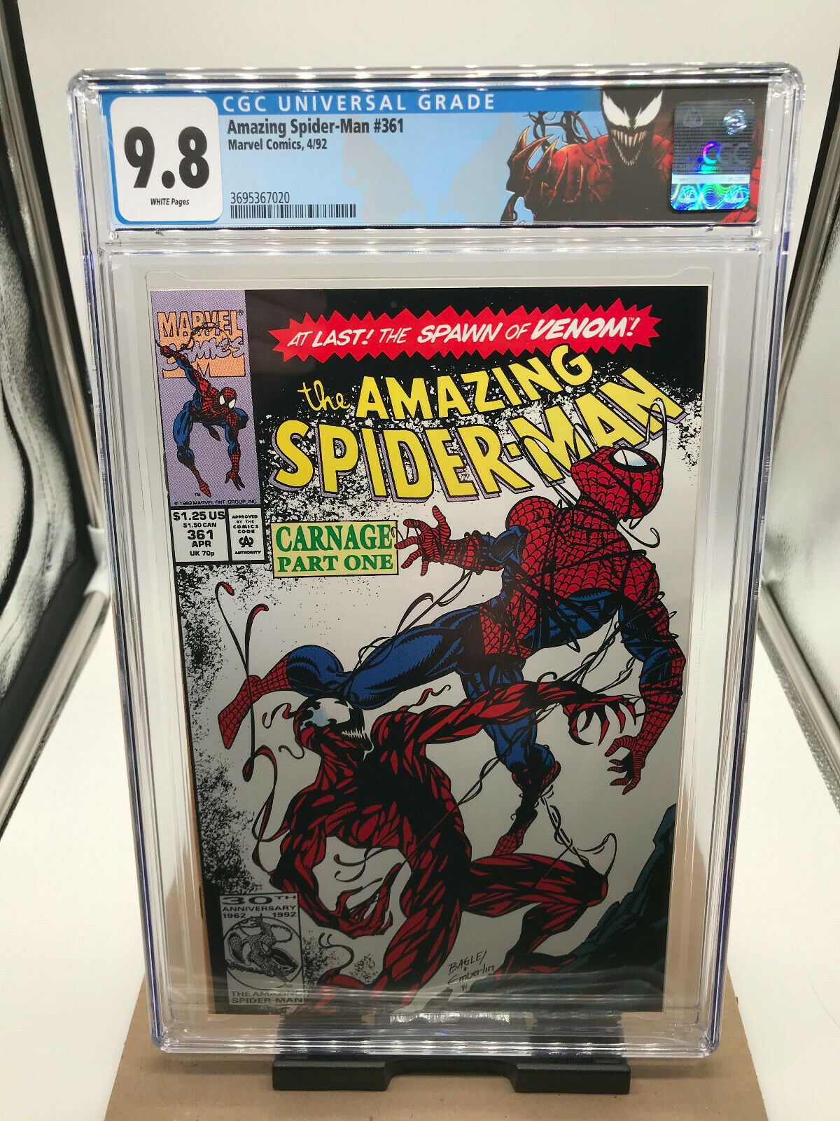 CGC 98 White pages Amazing Spiderman 361  First Carnage
