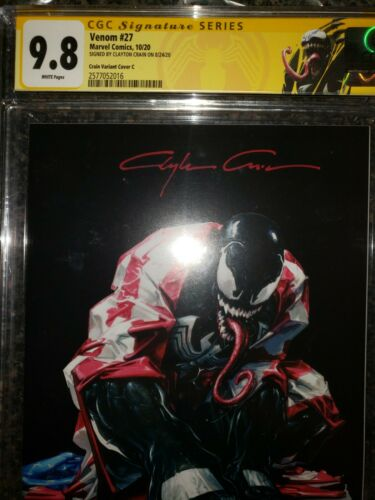 Venom 27 CGC 98 Black Dark Virgin C Variant Signed by Clayton Crain