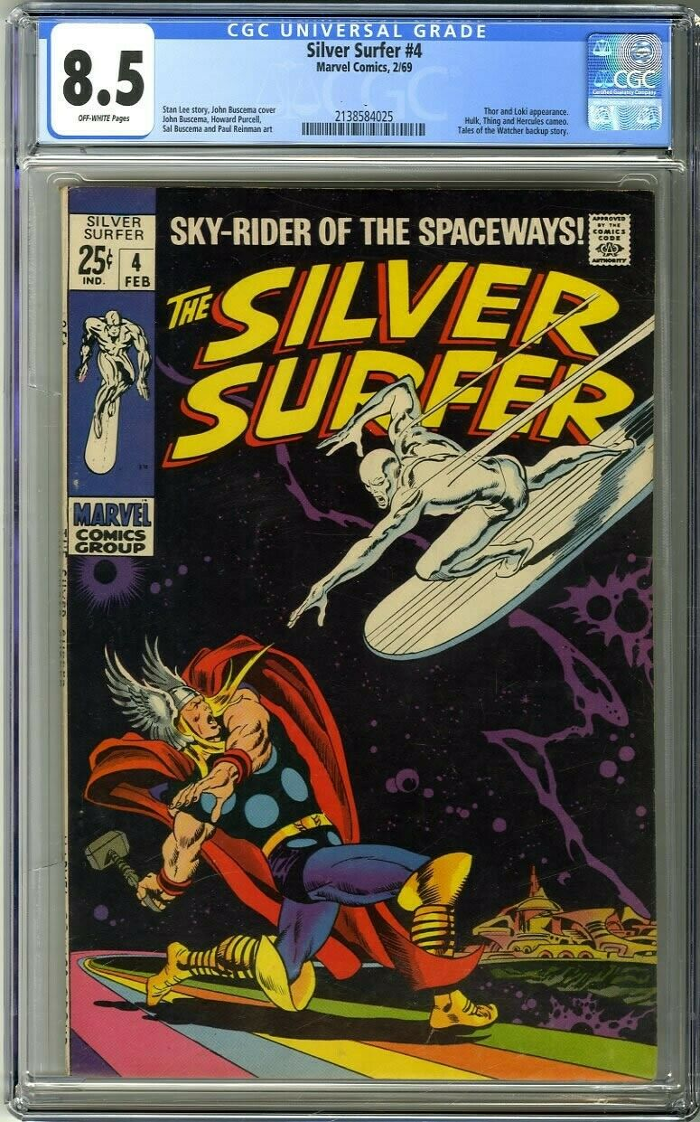 Silver Surfer 4 1969 CGC 85 OffWhite Pages Thor and Loki appearance
