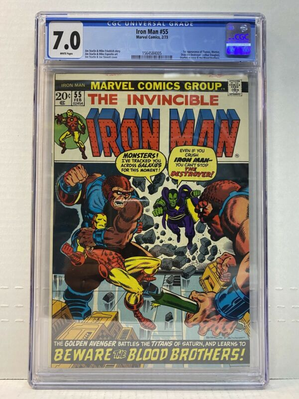THE INVINCIBLE IRON MAN 55 CGC 70 White Pages First Appearance Thanos